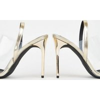 Gold Metallic Clear Strap Stiletto Mules New Look
