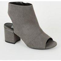 Girls Grey Suedette Peep Toe Block Heels New Look