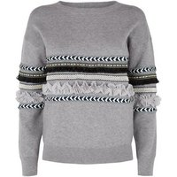 Cameo Rose Grey Tassel Trim Jumper New Look