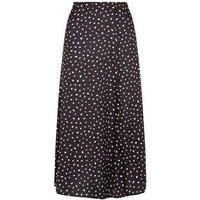 Black Satin Spot Side Split Midi Skirt New Look