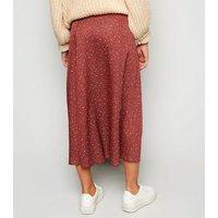 Rust Satin Spot Side Split Midi Skirt New Look