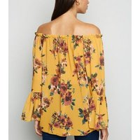 Mela Mustard Chiffon Floral Bardot Top New Look