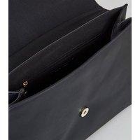 Black Faux Croc Satchel Shoulder Bag New Look Vegan