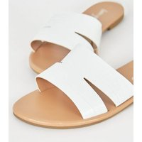 White Faux Croc Strap Sliders New Look