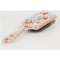 Rose Gold Gem Embellished Paddle Hair Brush New Look