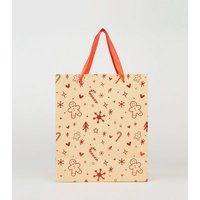 Red Gingerbread Man Christmas Gift Bag New Look