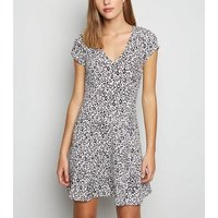 White Leopard Print Empire Mini Dress New Look