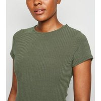 Khaki Ribbed Crew Neck Bodysuit New Look