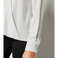 White Stripe Long Sleeve Wrap Blouse New Look