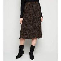 JDY Black Floral Tie Waist Midi Skirt New Look