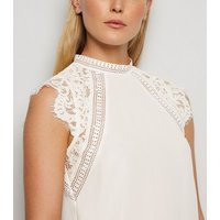 Off White Lace Sleeve Blouse New Look