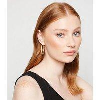 Gold Glitter Hoop Earrings New Look