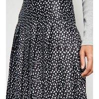 Cameo Rose Black Satin Spot Pleated Skirt New Look