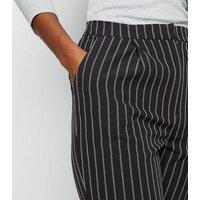 Black Pinstripe Slim Leg Trousers New Look