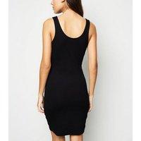 Black Ribbed Scoop Neck Bodycon Mini Dress New Look