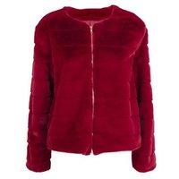 Mela Plum Faux Fur Jacket New Look