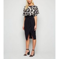 Black Leopard Print 2 in 1 Batwing Dress New Look