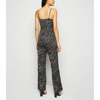 Black Satin Spot Print Strappy Jumpsuit New Look
