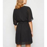 Black Chiffon Stripe Tie Waist Wrap Dress New Look