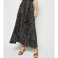 Black Satin Spot Pleated Midi Dress New Look