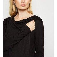 Maternity Black Drape Fine Knit Nursing Cardigan New Look