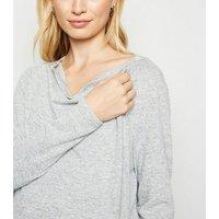 Maternity Grey Drape Fine Knit Nursing Cardigan New Look