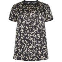 Curves Black Floral Ringer T-Shirt New Look
