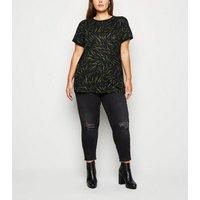 Curves Green Tiger Print Ringer T-Shirt New Look