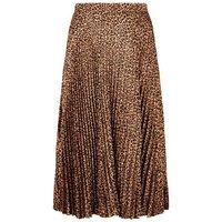 Curves Brown Satin Leopard Print Pleated Midi Skirt New Look