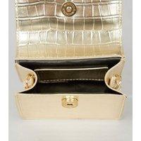 Gold Faux Croc Mini Shoulder Bag New Look