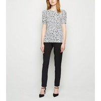 Off White Leopard Print Ruched Sleeve Top New Look