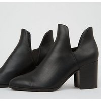 Black Leather-Look Cut Out Heeled Boots New Look