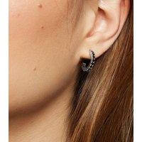 Black Cubic Zirconia Hoop Earrings New Look
