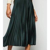 Petite Dark Green Satin Pleated Midi Skirt New Look