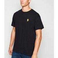 Black Embroidered Bart Simpson T-Shirt New Look