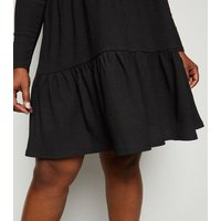 Curves Black Tiered Mini Smock Dress New Look
