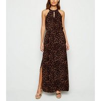 Apricot Brown Leopard Print Halterneck Maxi Dress New Look