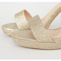 Gold Glitter 2 Part Platform Heeled Sandals New Look