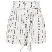 White stripe Paperbag Shorts New Look