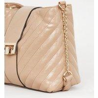 Camel Quilted Square Lock Shoulder Bag New Look Vegan