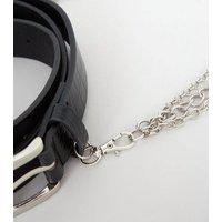 Black Faux Croc Drape Chain Hip Belt New Look