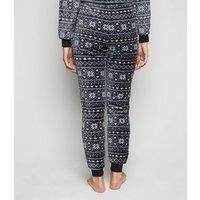 Light Grey Fair Isle Fluffy Pyjama Joggers New Look