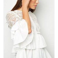 Cameo Rose White Crochet Ruffle Blouse New Look
