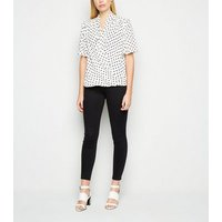 White Spot Tie Neck Wrap Blouse New Look