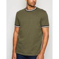 Khaki Ringer Short Sleeve T-Shirt New Look