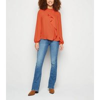 Orange High Neck Asymmetric Ruffle Blouse New Look