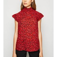 Red Spot Shirred Neck Frill Blouse New Look