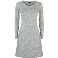 Grey Fine Knit Long Sleeve Swing Dress New Look