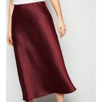 Petite Burgundy Bias Cut Satin Midi Skirt New Look
