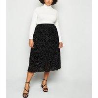 Curves Black Spot Pleated Midi Skirt New Look